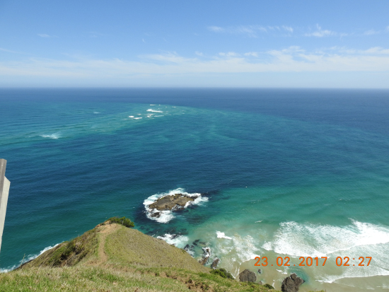 The Pacific Ocean viewed from Cape Reinga Lighthouse, northerly tip of NZ